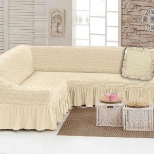 купить Чехол на угловой диван с подушкой Love You крем Кремовый фото