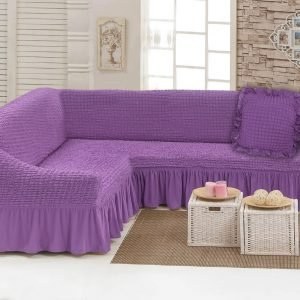 купить Чехол на угловой диван с подушкой Love You лиловый Лиловый фото