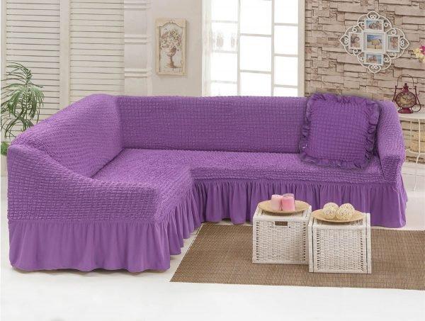 Чехол на угловой диван с подушкой Love You лиловый