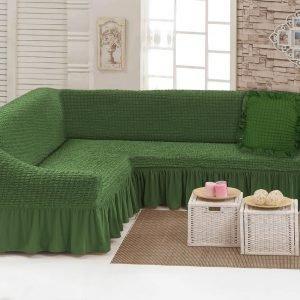Чехол на угловой диван с подушкой Love You олива