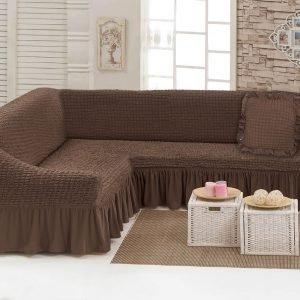 купить Чехол на угловой диван с подушкой Love You шоколад Коричневый фото