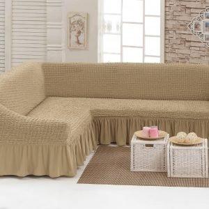 купить Чехол на угловой диван Love you беж Бежевый фото