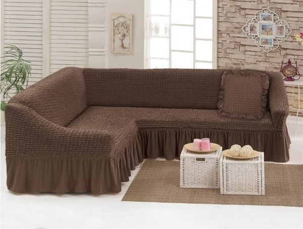 Чехол на угловой диван Love you шоколад