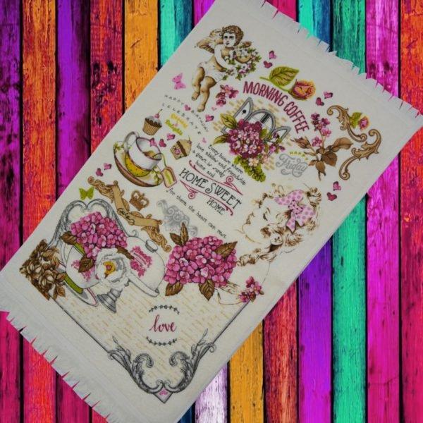 купить Кухонное полотенце Melih Morning Coffee 40x60 Розовый фото