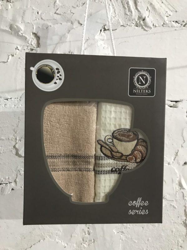 купить Набор вафельных кухонных полотенец Nilteks Coffee Series 2 шт Бежевый фото