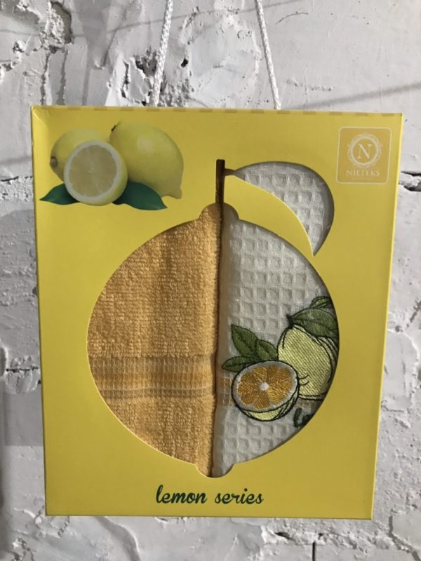 купить Набор вафельных кухонных полотенец Nilteks Lemon Series 2 шт Желтый фото
