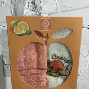 Набор вафельных кухонных полотенец Nilteks Orange Series 2 шт 40×60
