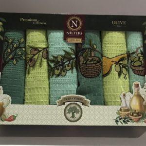купить Набор кухонных полотенец Nilteks Extra Virgin 6 шт Зеленый фото