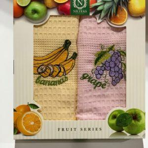 купить Набор кухонных полотенец Nilteks Fruit Series V01 2 шт Желтый|Розовый фото