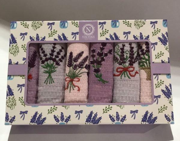 купить Набор кухонных полотенец Nilteks Lavanda V01 6 шт Фиолетовый фото