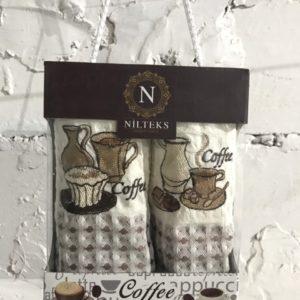 купить Набор кухонных полотенец Nilteks Time Coffee V02 2 шт Коричневый фото