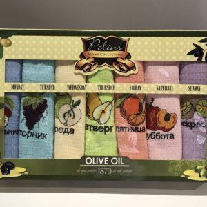 Набор кухонных полотенец Pelins Olive oil V01 7 шт 40×60