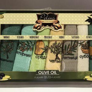 Набор кухонных полотенец Pelins Olive oil V02 7 шт 40×60