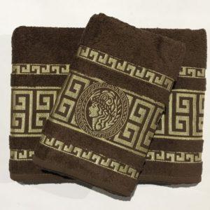 Набор махровых полотенец Gold Soft Life Версаче коричневый 50×90|70×140