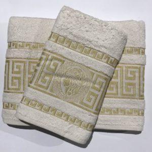 Набор махровых полотенец Gold Soft Life Версаче молочный 50×90|70×140