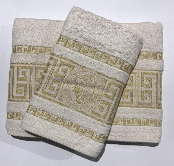 купить Набор махровых полотенец Gold Soft Life Версаче молочный Кремовый фото