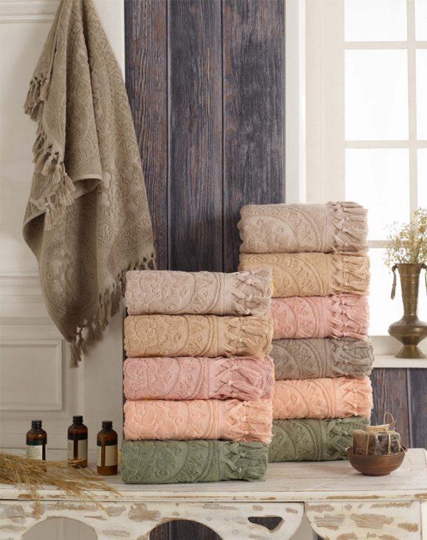 купить Набор махровых полотенец Sikel жаккард Hitit 50x90 6 шт  фото