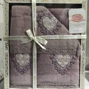 Набор махровых полотенец Sikel кружево Love лиловый 30×50|50×90|70×140