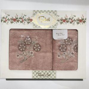 Набор махровых полотенец Sikel 3D Lux Daisy пудра 50×90|70×140