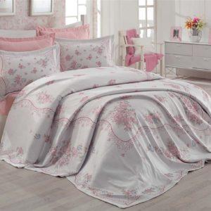 купить Покрывало с наволочками Zugo Home Bella ekru Розовый фото