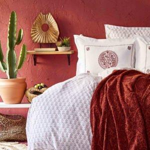 купить Постельное белье с пледом Karaca Home Alley kiremit 2020-1 Розовый|Бордовый фото