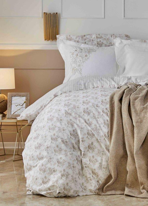 купить Постельное белье с пледом Karaca Home Brave gold 2020-1 Кремовый фото