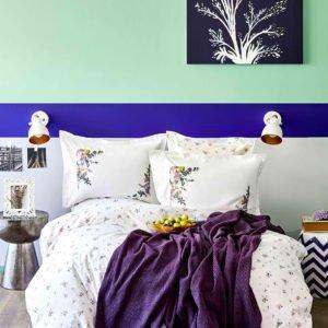 купить Постельное белье с пледом Karaca Home Fertile lila 2020-1 Лиловый фото