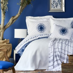 Постельное белье с покрывалом и пледом Karaca Home Belina mavi 2019-2 200×220