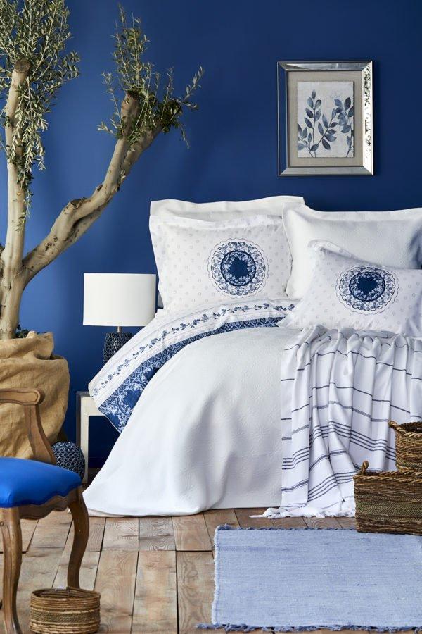 купить Постельное белье с покрывалом и пледом Karaca Home Belina mavi 2019-2 Голубой фото