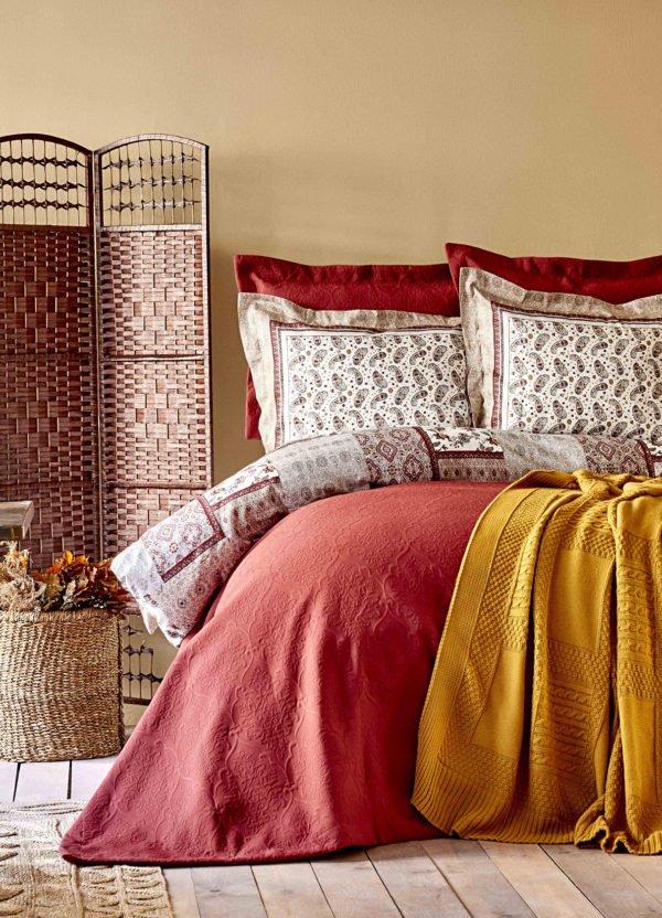 купить Постельное белье с покрывалом и пледом Karaca Home Maryam bordo 2020-1 Бордовый фото