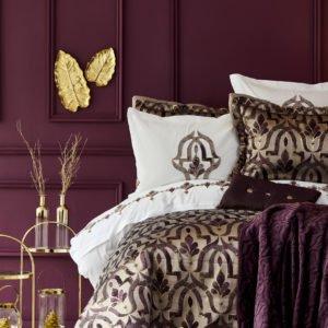 Постельное белье с покрывалом и пледом Karaca Home Morocco purple-gold 2019-2 200×220