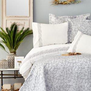 купить Постельное белье с покрывалом Karaca Home Carolina gri 2019-2 Серый фото