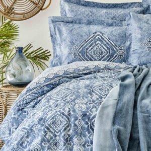 купить Постельное белье с покрывалом Karaca Home Lanika mavi 2020-1 Голубой фото
