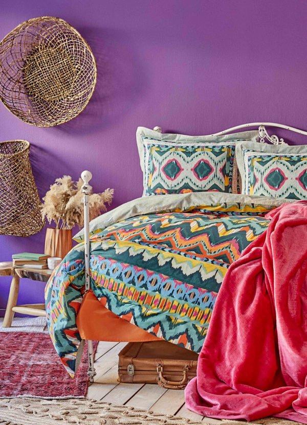 купить Постельное белье с покрывалом Karaca Home Mishka fusya 2020-1 Бирюзовый фото