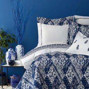 купить Постельное белье с покрывалом Karaca Home Urla mavi 2019-2 Синий фото