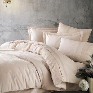Постельное белье Cotton Box Ранфорс с вышивкой Elba Bej 200×220
