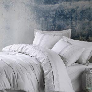 Постельное белье Cotton Box Ранфорс с вышивкой Elba Gri 200×220