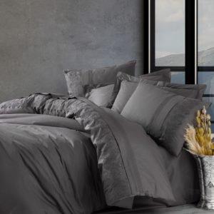 Постельное белье Cotton Box Ранфорс с вышивкой Enzo Antrazit 200×220