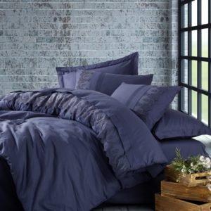 Постельное белье Cotton Box Ранфорс с вышивкой Enzo Lacivert 200×220
