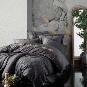 Постельное белье Cotton Box Сатин с вышивкой King Antrazit 200×220