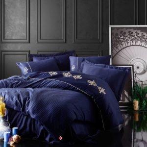 Постельное белье Cotton Box Сатин с вышивкой King Lacivert 200×220