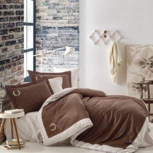 Постельное белье Cotton Box Сатин с вышивкой Saha Kahve 200×220