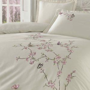 купить Постельное белье Dantela Vita Embroidered Butterfly bej Кремовый фото 2