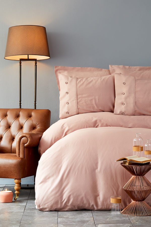 купить Постельное белье Karaca Home сатин Infinity pudra 2019-2 Розовый фото