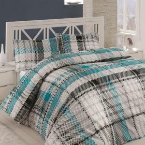 купить Постельное белье Linda ранфорс 4258-02 Серый|Бирюзовый фото