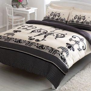 Постельное белье TAC сатин Delux Jaden siyah v51 200×220