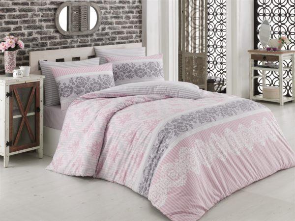 купить Постельное белье Zugo Home ранфорс Irene V1 Розовый фото