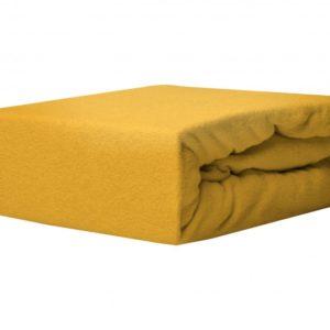 Простынь махровая на резинке Rosella Basic Light Желтая 160×200