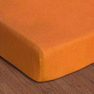 купить Простынь махровая на резинке Rosella Basic Light Оранжевая Оранжевый фото