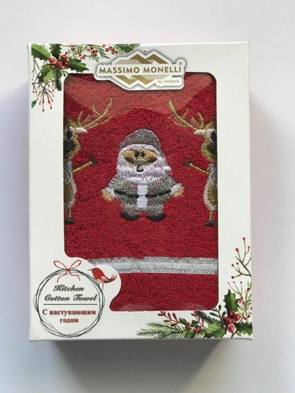 купить Кухонное полотенце Massimo Monelli Серебристый Санта Красный фото